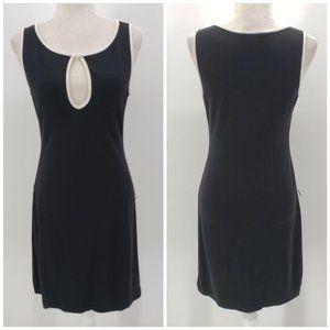 Bebe Black & White Sleeveless Peek-A-Boo Dress S